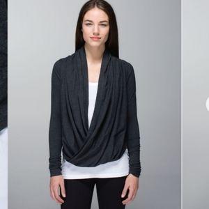 Lululemon Iconic Wrap Heathered Black Long Sleeve Sweater